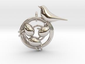 Birdie Pendant in Rhodium Plated Brass