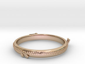 zipper ring(size = USA 5.5)  in 14k Rose Gold Plated