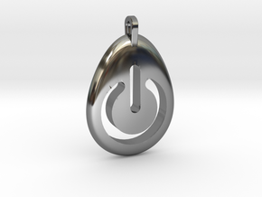 Power Pendant in Fine Detail Polished Silver
