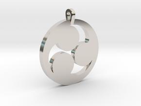 Tomoe Pendant in Rhodium Plated Brass