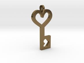 Heart Key Pendant in Polished Bronze