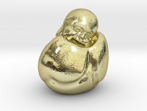 To Sleep Sitting Up Laughing Buddha in 18k Gold Plated Brass