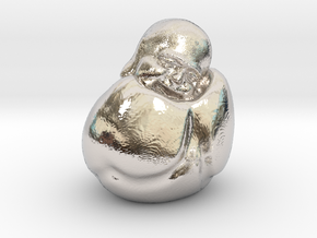 To Sleep Sitting Up Laughing Buddha in Platinum