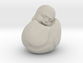 To Sleep Sitting Up Laughing Buddha in Sandstone