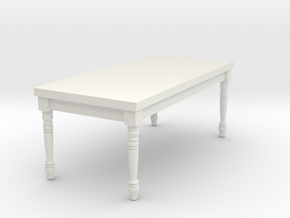 1:12 One Inch Scale Miniature French Country Table in White Natural Versatile Plastic