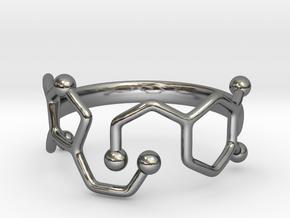 Dopamine Serotonin Ring - Size 7 in Fine Detail Polished Silver