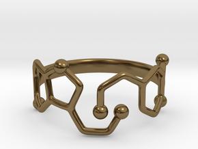 Dopamine & Serotonin Molecule Ring - Size 8 in Polished Bronze