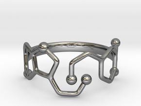Dopamine & Serotonin Molecule Ring - Size 8 in Fine Detail Polished Silver