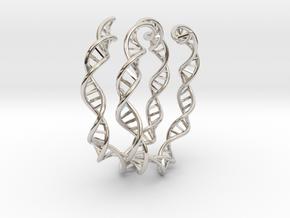 DNA Bracelet (63mm, open) in Rhodium Plated Brass