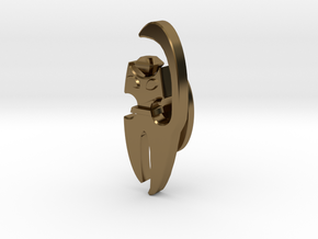 Cat Cufflink in Polished Bronze