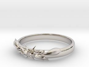 Ice ring(size = USA 5.5)  in Rhodium Plated Brass