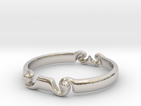Spiral ring(size = USA 5.5)  in Rhodium Plated Brass