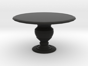 1:12 One Inch Scale Miniature Round Dining Table in Black Natural Versatile Plastic