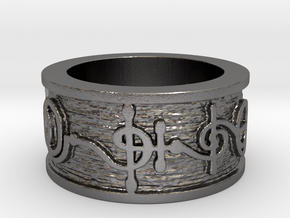 """T'hy'la"" Vulcan Script Ring - Embossed Style in Polished Nickel Steel: 5 / 49"