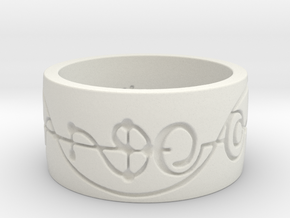 """IDIC"" Vulcan Script Ring - Engraved Style in White Natural Versatile Plastic: 5 / 49"