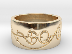 """IDIC"" Vulcan Script Ring - Engraved Style in 14k Gold Plated Brass: 5 / 49"