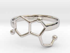 Serotonin Molecule Ring - Size 7 in Rhodium Plated Brass