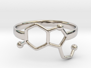 Serotonin Molecule Ring - Size 8 in Platinum