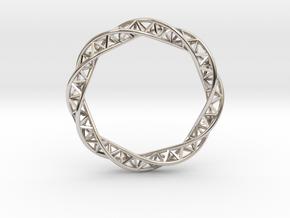 Triple Helix Bracelet (63 mm) in Rhodium Plated Brass