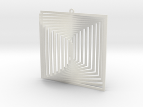 Pendant Wind Spinner 3D Square in White Natural Versatile Plastic