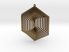 Pendant Wind Spinner 3D Hexagon in Natural Bronze