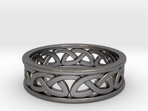 Celtic Ring 8 in Polished Nickel Steel