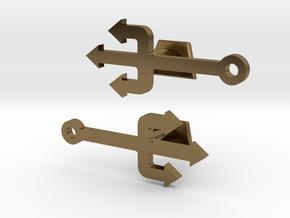 Pitchfork Cufflinks  in Polished Bronze
