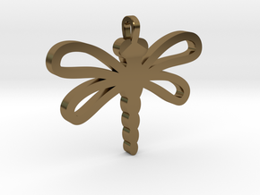 Dragonfly Pendant in Polished Bronze