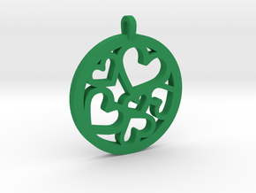 Hearts Pendant in Green Processed Versatile Plastic