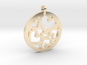 Hearts Pendant in 14k Gold Plated Brass