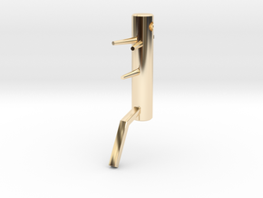 Wooden Dummy key fob in 14k Gold Plated Brass