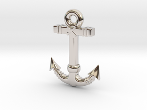 Anchor Pendant 1 in Rhodium Plated Brass