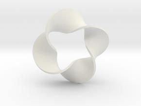 0160 Mobius strip (p=4, d=10cm) #008 in White Natural Versatile Plastic