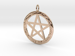 Pentacle pendant - Goddess chant in 14k Rose Gold Plated Brass