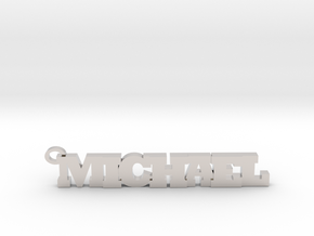 Michael Keychain (Pendant) in Rhodium Plated Brass