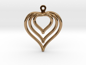 3D Printed Wired Love Yourself Heart Earrings in Polished Brass