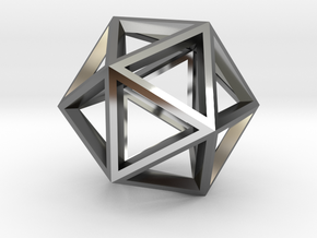 Icosahedron in Fine Detail Polished Silver
