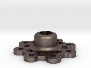 Mid Strength Wheel Hub (17 mm) in Polished Bronzed Silver Steel