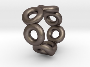 Bague Anos S9 in Polished Bronzed Silver Steel