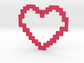 Pixel Heart Necklace in Pink Processed Versatile Plastic