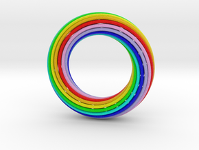 0161 Torus of Doubly Twisted Strips (p=1, d=10cm) in Full Color Sandstone