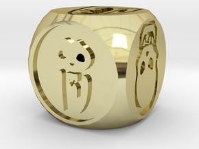 Heroquest combat die in 18k Gold