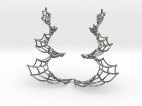 Spiral Spider Web Earrings in Polished Silver