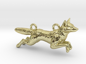 Jumping Fox in 18k Gold Plated Brass