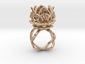 The Lotus Flower Ring / size 7 1/2 US in 14k Rose Gold Plated Brass
