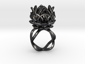 The Lotus Flower Ring / size 7 1/2 US in Polished and Bronzed Black Steel