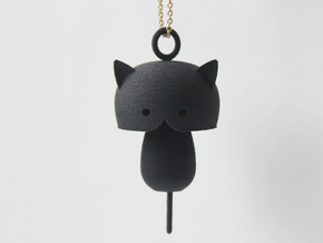 Kitty cat Pendant in Black Natural Versatile Plastic