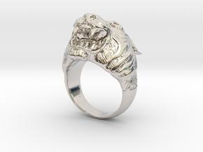 Tiger in Rhodium Plated Brass