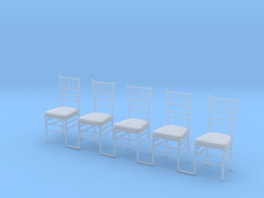 5 Chiavari Chairs 1:24 in Smooth Fine Detail Plastic
