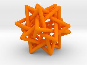 Tetrahedron 5 Compound, round struts in Orange Processed Versatile Plastic
